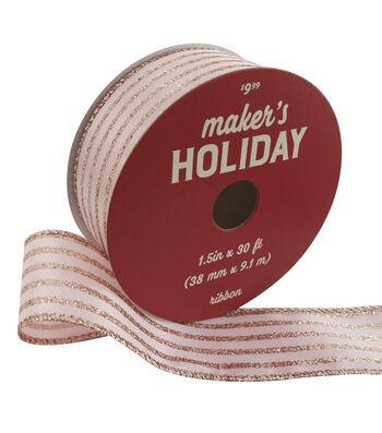Maker's Holiday Christmas Ribbon 1.5''x30'-Rose Gold Glitter Stripes
