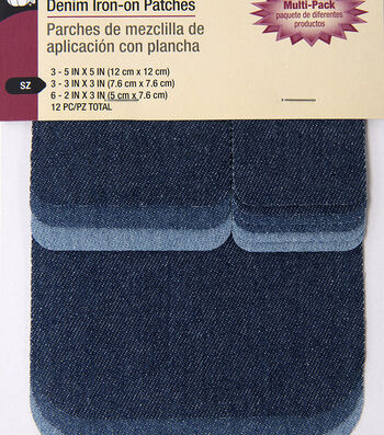 Dritz 12 pk Denim Iron-On Patches-Assorted