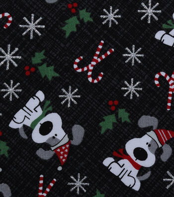 "Christmas Cotton Fabric 43""-I Woof You Holiday Black Glitter"