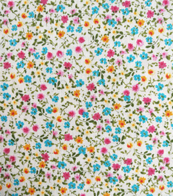 Cotton Shirting Fabric 57''-Multicolor Ditsy Floral on White