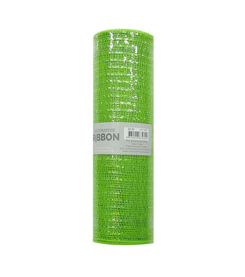 Decorative Ribbon Metallic Deco Mesh 10''x10 yds-Lime Green