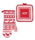 Maker\u0027s Holiday Christmas Oven Mitt & Pot Holder-Red Fair Isle