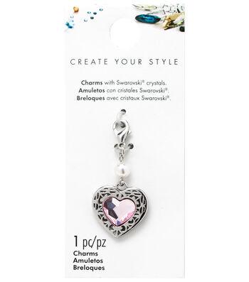 Swarovski Create Your Style Decorative Heart Charm-Pink Crystal