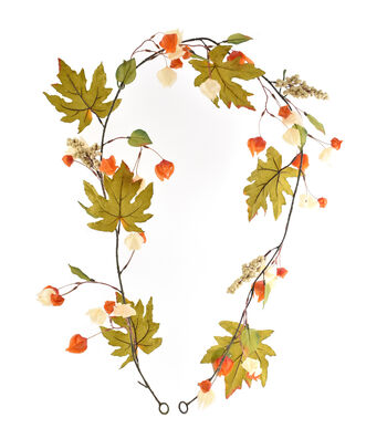 Blooming Autumn Lantern & Leaves Garland-Orange & Cream