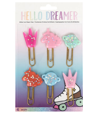 American Crafts Hello Dreamer 6 pk Glitter Icon Paper Clips