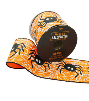 Maker's Halloween Decor Ribbon 2.5''x12'-Spiders on Orange
