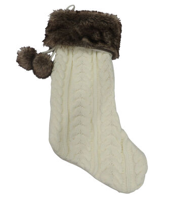 Maker's Holiday Christmas 21''x12'' Knit Stocking with Fur-Cream