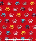 Anti-Pill Fleece Fabric -Patterned Paws