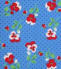 1930\u0027s Cotton Fabric 43\u0027\u0027-Pindot & Florals on Blue