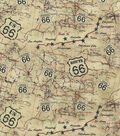 Novelty Cotton Fabric-Antique 66 Map