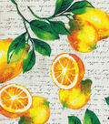 Novelty Cotton Fabric 43\u0022-Lemons On Cream Script