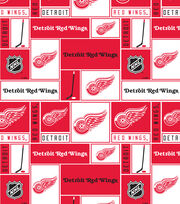 Detroit Red Wings Fleece Fabric -Block, , hi-res
