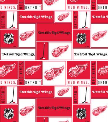 Detroit Red Wings Fleece Fabric 60''-Block