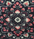 Knit Apparel Fabric- Vines & Floral Mosaic on Blue