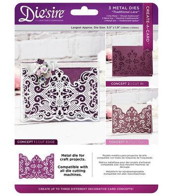 Die'sire Create-A-Card 3 pk Metal Dies-Traditional Lace