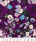 Premium Quilt Cotton Fabric-Watercolor Floral on Dark Purple