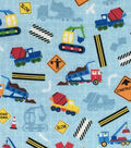 Novelty Cotton Fabric 44\u0022-Construction Blue