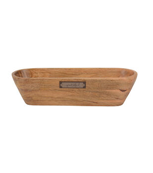 """Simply Autumn 15""""x4"""" Mango Wood Oval Tray-Grateful on Natural"""