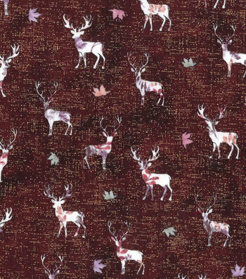 "Harvest Cotton Fabric 43""-Trapped Stags"