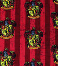 Harry Potter Fleece Fabric 58\u0027\u0027-Gryffindor Crest on Stripes