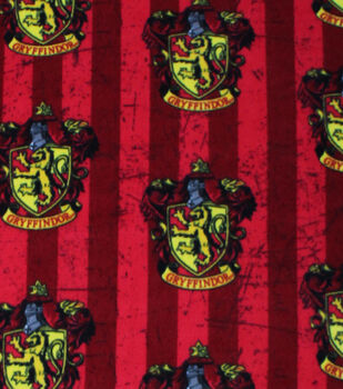 Harry Potter Fleece Fabric 58''-Gryffindor Crest on Stripes