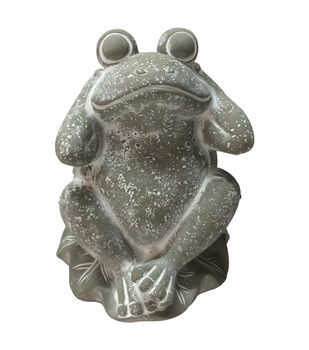 In the Garden Cement Hear No Evil Frog