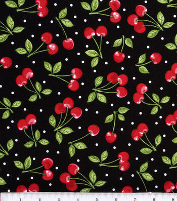 Novelty Cotton Fabric 44''-Dots & Cherries