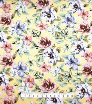 Silky Stretch Chiffon Fabric-Yellow Floral