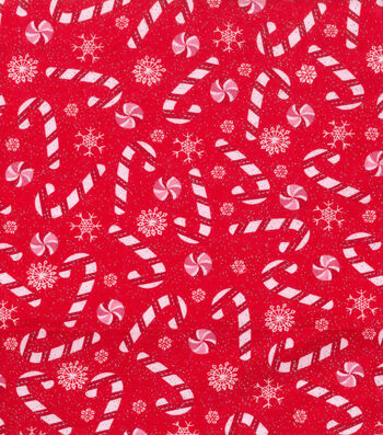 """Snuggle Flannel Fabric 42""""-Candy Canes"""
