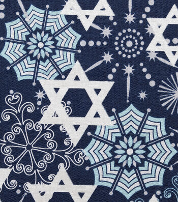"Hanukkah Cotton Fabric 43""-Star Of David & Snowflakes"