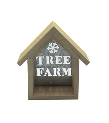 Maker's Holiday Craft Wood Décor-Small House Tree Farm Metal