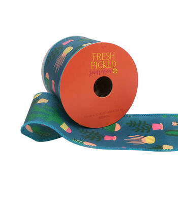 "Fresh Picked Summer Printed Ribbon 2.5""x12'-Blue"
