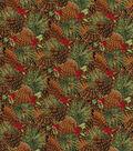 Christmas Cotton Fabric-Glitter Pinecones & Berries
