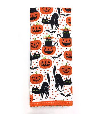 Maker's Halloween 16''x28'' Towel-Pumpkins & Black Cats