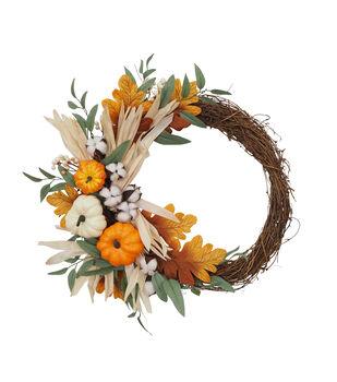 Blooming Autumn Pumpkin, Corn Husk, Cotton & Grapevine Wreath