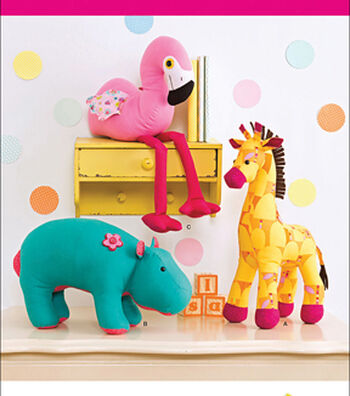 Simplicity Patterns Us1082Os-Simplicity Stuffed Hippo, Giraffe And Flamingo-One Size