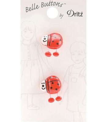 Belle Button-Juvenile Red Lady Bug Legs 15Mm