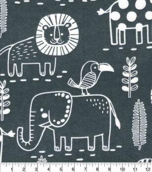 Nursery Flannel Fabric-Sweet Safari Animal Outlines