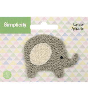 Simplicity Elephant Baby Sew-on Applique-Light Gray