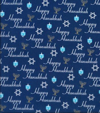 """Keepsake Calico Holiday Cotton Fabric 43""""-Happy Hanukkah Script"""