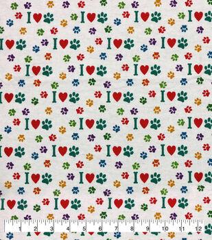 Super Snuggle Flannel Fabric-I Heart Paw Multi