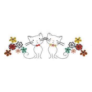 "Stamped Pillowcase Pair 20""X30"" For Embroidery-Retro Cats"