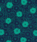 Quilter\u0027s Showcase Fabric 44\u0027\u0027-Pool Green & Navy Floral