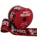 Maker\u0027s Holiday Ribbon 2.5\u0027\u0027x25\u0027-Let it Snow on Red & Black Plaid