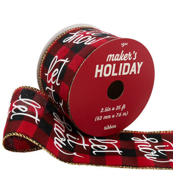 Maker's Holiday Ribbon 2.5''x25'-Let it Snow on Red & Black Plaid