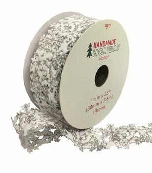 Handmade Holiday Christmas Laser Cut Snowflake Ribbon 1.5''x25'-White