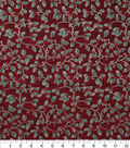 Christmas Cotton Fabric 43\u0022-Holly & Berries Foil Red