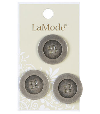 LaMode 4 Hole Antique Silver Metal Buttons 22mm