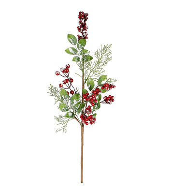 Blooming Holiday Christmas 18'' Red Berry & Flocked Leaves Spray