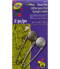 Metal Shawl Pin Engraved Flower 2 ct package Pewter/Nickel
